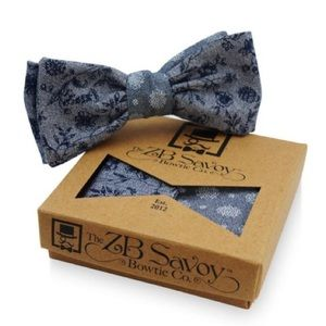 ZB Savoy Floral Navy Chambray Denim Bow Tie